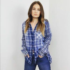 Bella Dahl Blue Plaid Button Down Shirt